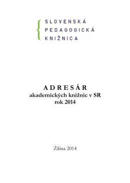 Adresár akademických knižníc - Slovenská pedagogická knižnica