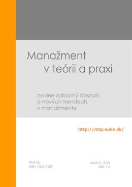 Manažment v teórii a praxi 1-2-2013