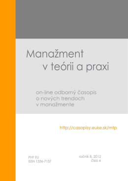 Číslo 4/2012 - Manažment v teórii a praxi