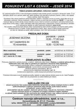 Cenník JESEŇ 2014 (PDF) - Centrum rozvoja záhradníctva, spol. s ro