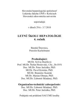 Letn kola hepatolgie - Slovenská hepatologická spoločnosť
