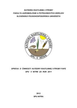 rok 2011 - Katedra rastlinnej výroby