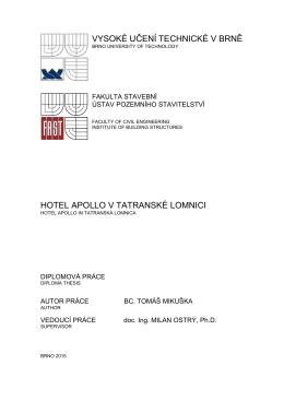 vysoké učení technické v brně hotel apollo v tatranské lomnici