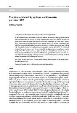 Montánno-historický výskum na Slovensku po roku 1989