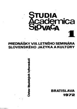 Prednášky V)!). - Zborníky Studia Academica Slovaca