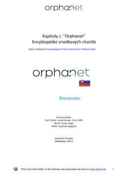 """Kapitoly z """"Orphanet"""" Encyklopédie zriedkavých chorôb"""