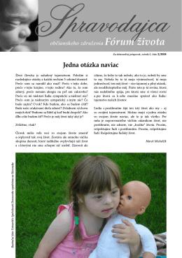 Spravodajca občianskeho združenia Fórum života 2/2008 (pdf, 530 kB)