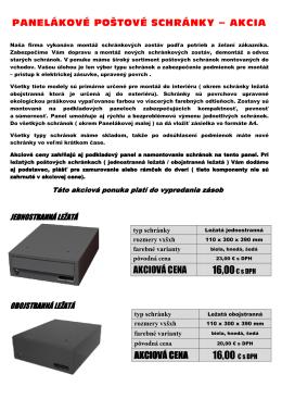 Panelákové poštové schránky - AKCIA - postove