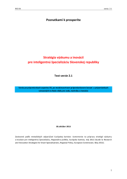 Poznatkami k prosperite Stratégia výskumu a inovácií pre