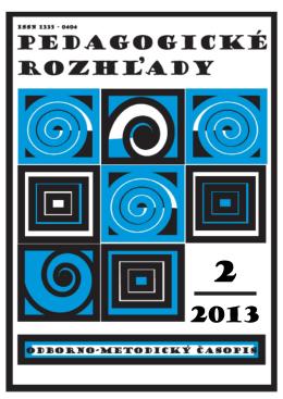 Pedagogické rozhľady, 2/2013 - Metodicko
