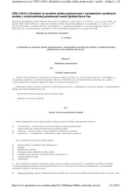 VZN 4 2010 o úhradách za sociálne služby poskytované v
