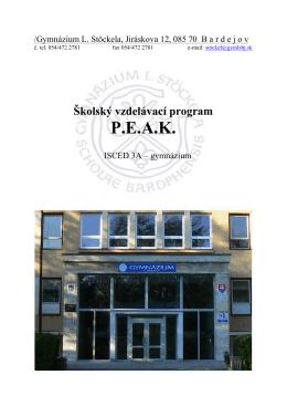 Školský vzdelávací program P. E. A. K.