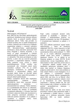 Spravodaj ročník 16 č. 1 - Slovenská spektroskopická spoločnosť