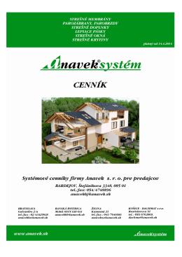 Kompletný cenník výrobkov Anaveksystém Apríl 2014 v PDF