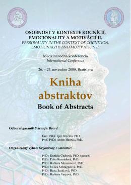 Kniha abstraktov - Intranet Katedry psychológie FiF UK