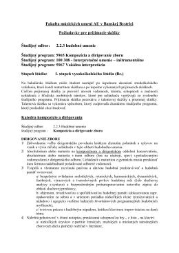 Požiadavky pre prijímacie skúšky