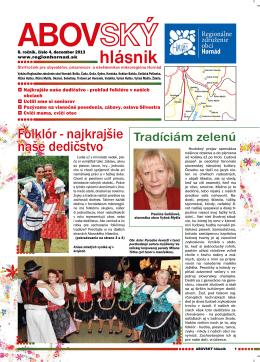 Abovský hlásnik č. 4/2013 - Regionálne združenie obcí Hornád