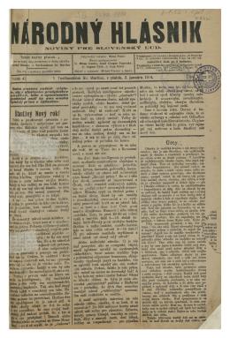 V Turčianskom Sv. Martine, v piatok, 2. januára 1914. L