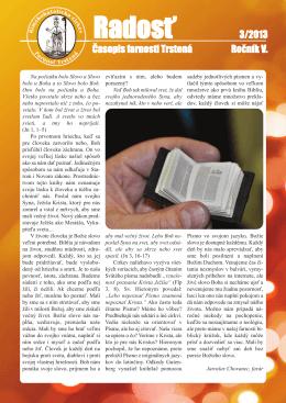 Farský časopis Radosť 3/2013