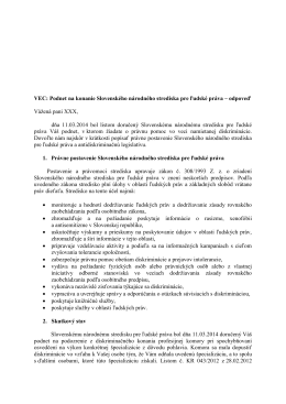 pracovnoprávna oblasť - Slovenské národné stredisko pre ľudské