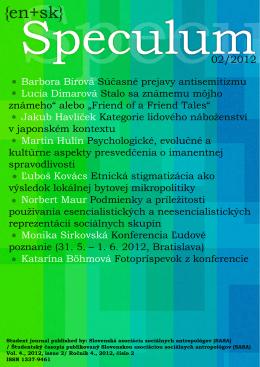 PDF - Speculum - Slovenská asociácia sociálnych antropológov