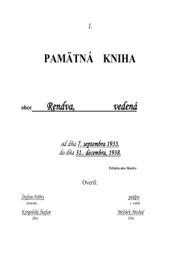 Pamätná kniha 1933-1938, doslovný prepis. (formát