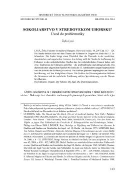 Sokoliarstvo v stredovekom Uhorsku. Úvod do problematiky