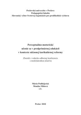 Perceptuálno-motorické učenie sa v predprimárnej edukácii v