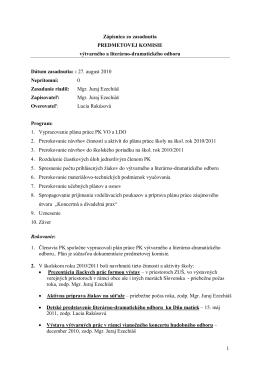 1 Zápisnica zo zasadnutia PREDMETOVEJ KOMISIE