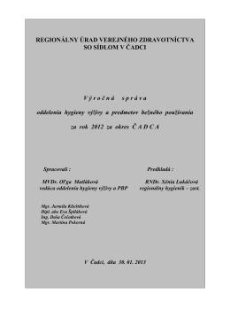 stiahnuť - Regionálny úrad verejného zdravotníctva so sídlom v Čadci
