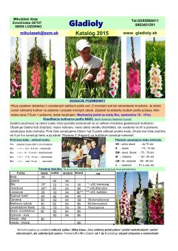 ponukový katalóg gladioly (2015)