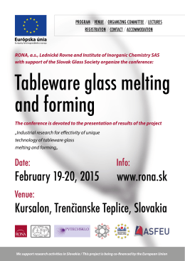 Tableware glass melting and forming