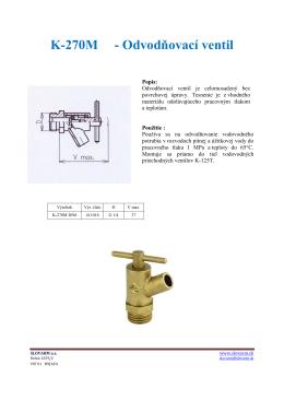 K-270M - Odvodňovací ventil