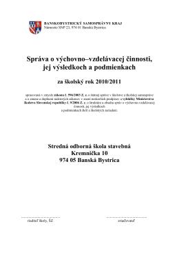 Správa o výchovno-vzdelávacej činnosti školy