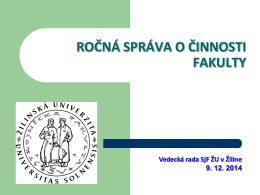 Správa o činnosti 2014 - Strojnícka fakulta