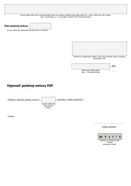 Výpoveď poistnej zmluvy PZP – formulár