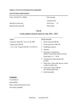 Návrh tvorby pohotovostných zásob na roky 2011