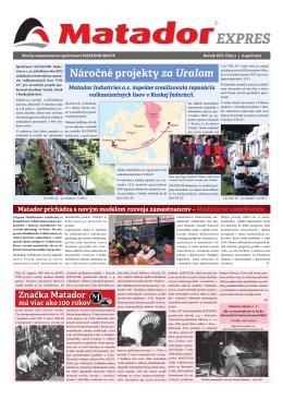 Náročné projekty za Uralom - MATADOR Holding
