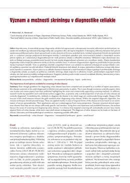 Význam a možnosti skríningu v diagnostike celiakie
