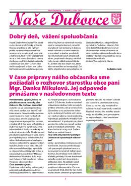 č.2 / 2011 - obec DUBOVCE