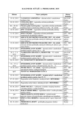 kalendár súťaží a prehliadok 2015 - DJZ