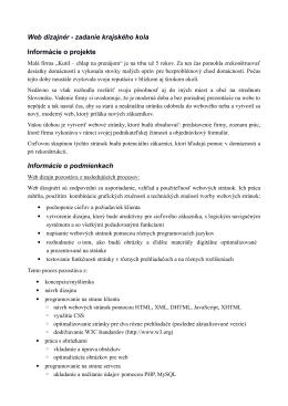 Web dizajnér - zadanie krajského kola Informácie o projekte