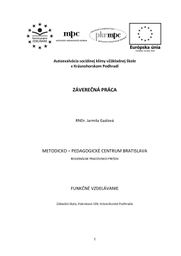 ZÁVEREČNÁ PRÁCA - ZŠ Krásnohorské Podhradie, Pokroková 199
