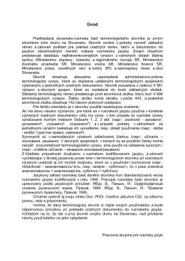 Predkladaná slovensko-rusínska časť