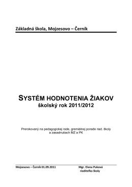 2. Systém hodnotenia žiakov na I. stupni
