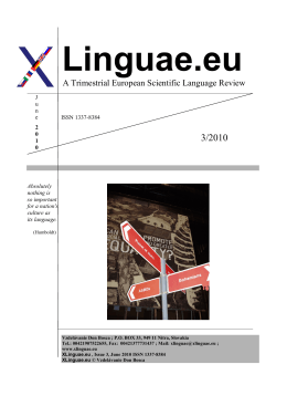 A Trimestrial European Scientific Language Review