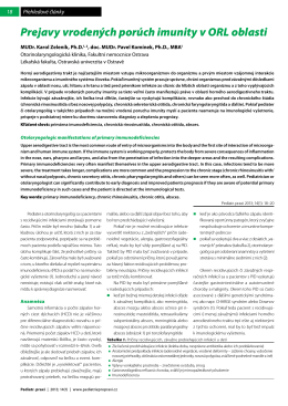 Prejavy vrodených porúch imunity v ORL oblasti