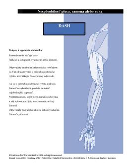 Nespôsobilosť pleca, ramena alebo ruky - DASH