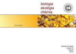 obsah čísla - Biológia, ekológia, chémia