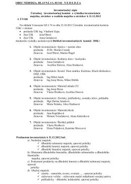 Inventarizačný zápis ústrednej inventarizačnej
